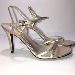 LRL RALPH LAUREN Strappy Silver Metallic Sandals 9